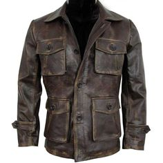 Details about Men's Vintage Stylish Cafe Racer Biker Distressed Brown Leather Coat Jacket - Mens jackets casual lustig bilder Distressed Leather Jacket, Men's Leather Jacket, Leather Men, Real Leather, Lambskin Leather, Leather Jackets For Men, Vintage Leather Jacket, Black Leather, Stylish Jackets
