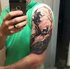Half sleeve hunter in woods with deer guys archery tattoo Jäger Tattoo, Tattoo Crane, Tattoo Video, Body Art Tattoos, Tatoos, Deer Hunting Tattoos, Deer Skull Tattoos, Duck Tattoos, Tiger Tattoo