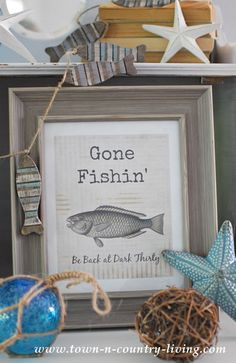 Need a quick and easy art project? Download my free summer printable, Gone Fishin'. Add a frame and you have simple artwork for your home.