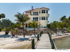 #Sebastian riverfront estate, view of home facing the river. Like the lighthouse look!  #Brevard #Florida