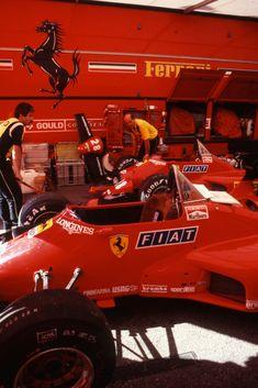 Ferrari Pit. Monaco 1984. Ferrari 126C4. 27 Michele Alboreto. 28 René Arnoux