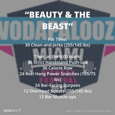 "The 2017 #Wodapalooza fitness festival in Miami announced this as their fourth and fifth workouts for individuals (""WZA 2017 WOD #4 & #5""). Weights shown here are for the Rx division (there are also Elite, Intermediate, Scaled and other divisions in the competition). For Time: 30 Clean-and-Jerks (205/145 lbs); Then, at the 6:00 mark: 36 Strict Handstand Push-ups; 36 Calorie Row; 24 Axel Hang Power Snatches (105/75 lbs); 24 Bar-Facing Burpees; 12 Overhead Squats (205/145 lbs); 12 Bar…"