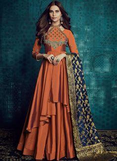 VJV Fashions presenting Beautiful Orange Color Silk Designer Anarkali Suit shop from our biggest collection of designer salwar suit, party wear salwar suit Long Anarkali Gown, Silk Anarkali Suits, Bridal Anarkali Suits, Indian Designer Outfits, Indian Outfits, Designer Dresses, Indian Attire, Indian Wear, Indian Gowns Dresses