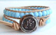 Turquoise Crystal Leather Wrap Bracelet by TaphiaDesigns on Etsy, $30.00