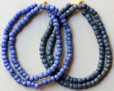 "Trade Beads Venetian Blue ""Gooseberries"" Rounded shape, light or darker blue Early 1900s Average bead size: 9mm"