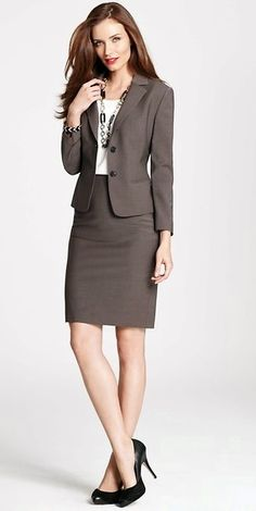 Ann Taylor, work wear, brown skirt suit, two button skirt suit, interview attire Business Professional Attire, Business Outfits Women, Business Dresses, Professional Outfits, Business Attire, Business Fashion, Business Clothes, Business Casual, Business Formal