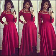 Best Looking Maroon Frenc Crep Amrela Tyep Semi Stitched Long Gown Indian Gowns Dresses, Red Gowns, Maxi Dresses, Party Dresses, Pakistani Outfits, Indian Outfits, Indian Clothes, Maroon Gowns, Indowestern Gowns