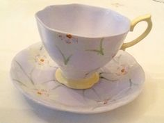 Royal Albert Crown China 2168  3 Pastel blue hand painted white daisies Yellow foot and handle