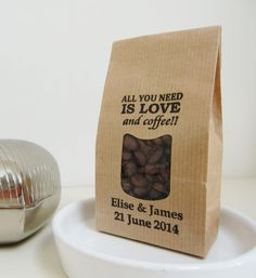 LOVE AND COFFEE-Wedding Favor Bags-Wedding by IzzyandLoll on Etsy