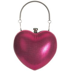 Pink Heart Clutch ($32) ❤ liked on Polyvore featuring bags, handbags, clutches, pink clutches, purple purse, purple handbags, heart handbag and heart shaped purse