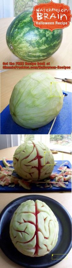 50 Creepy DIY Halloween Party Ideas - DIY for Life Watermelon brain Halloween Snacks, Diy Halloween, Buffet Halloween, Hallowen Food, Moldes Halloween, Hallowen Ideas, Manualidades Halloween, Halloween Goodies, Halloween Birthday