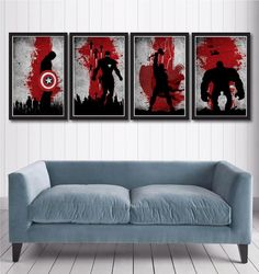 Vintage Avengers Movie Poster Set include:    - Captain America Poster  - Iron Man Poster  - Thor Poster  - Hulk Poster    Poster size: 11