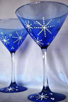 New Year's Eve Toasting Glasses - Set of 2 Beautiful Cobalt Blue by TREASUREHUNTVENTURA on Etsy