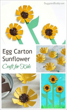 Sunflower Egg Carton Craft for Kids – Buggy and Buddy - Muttertag Basteln Mit Kindern Fall Crafts For Kids, Summer Crafts, Toddler Crafts, Art For Kids, Recycled Crafts For Kids, Kid Art, Kids Diy, Preschool Crafts, Fun Crafts