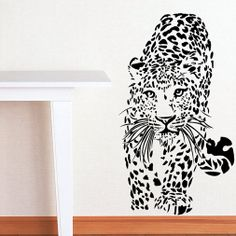 Free Shipping  High quality Carved(not print) wall decor decals home stickers art PVC vinyl Leopard B-137