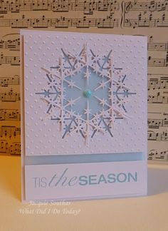 handmade card by what did I do today? .... gorgeous snowflake card in white and pale blue ... negative space die cut snowflake with the cut out offset & layered on top ... delightful!!