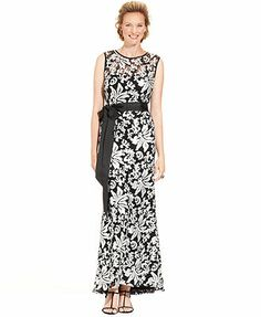 Add a blue/printed sash and colorful earrings? Betsy & Adam Dress, Sleeveless Sequin Embroidered Belted Gown