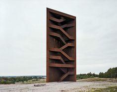 Landmarke Lausitzer Seenland by Architektur & Landschaft. Stairs zig zag to the observation deck of the coal waste field