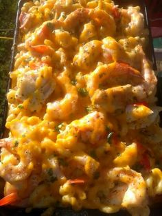 Sunset grilled shrimp, chicken and crab macaroni and cheese.