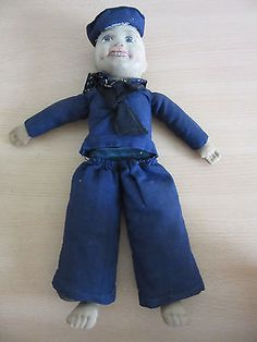 Antique-Norah-Wellings-Cloth-Navy-Sailor-Boy-Doll-14-5-034