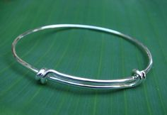 Silver Adjustable Wire Stacking Bangle Bracelet ~ DIY Add Your Own Dangle Charms #Handmade #Bangle