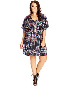 City Chic Plus Size Printed V-Neck A-Line Dress