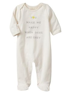 Gap Organic Happy Footed One Piece - ivory frost
