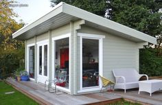 garden with raised grass shed decking - Google Search