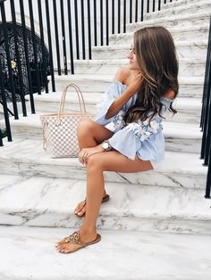 Love this blue top - and the marble staircase!
