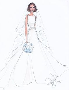 Custom Wedding Gown Illustration FRONTAL by IllustrativeMoments