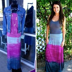 T-Party Ombre Maxi Skirt - Add some fun color to your Fall Wardrobe with this T-Party HORIZON DIP DYE MAXI SKIRT! This adorable Maxi Skirt is so pretty with how it goes from light grey to fuchsia to dark grey.  #tparty #fall #MustHave #Socute   It has an Elastic Waist for comfort, and fits true to size. In-store or online: http://www.simplyposhclothing.com/product/t-party-color-block-tie-dye-maxi-skirt/ - $44