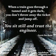 When a train goes through a tunnel and i by Corrie Ten Boom @ Like Success Corrie Ten Boom, Great Quotes, Quotes To Live By, Inspirational Quotes, Motivational Quotes, Clever Quotes, Awesome Quotes, Words Quotes, Wise Words