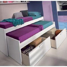 lit gigogne LOOPY avec 2 tiroirs couchage 90 x 190