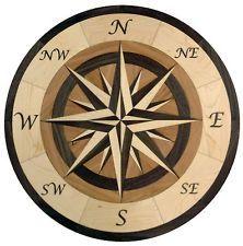 "Compass Rose floor inlay | 24"" Hardwood Flooring Compass Medallion Inlay 100 Piece kit DIY Floor ..."