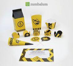 Tema de festa infantil: Construção! Dica de papelaria da Zumbalum (kit de decoração de festa infantil para meninos). Veja mais em: http://mamaepratica.com.br/2016/05/09/13-temas-de-festa-infantil/
