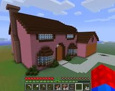 pink minecraft house.... I think if this was brick or sandstone it would be so much better.