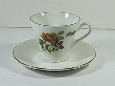 Vintage ROSE TEA CUP with Saucer & Earth Tone Roses by LavenderGardenCottage etsy