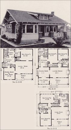 1922 Classic California-style Bungalow House Plans - E. W. Stillwell - Los Angeles - No. L-13