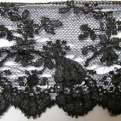 Antique Delicate Black Needle on Net Lace 2 by VictorianWardrobe, $10.00