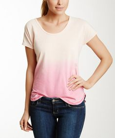 Another great find on #zulily! Cherry Blossom & Raspberry Ombré Acid-Wash Short-Sleeve Tee by Central Park West #zulilyfinds