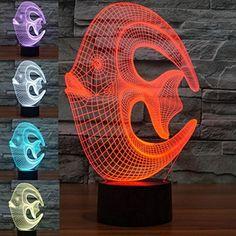 SUPERNIUDB Romantic 3D iLLusion Bulding Light Ton LED Lamp,7 Colors Change Art Sculpture Lights Produces Unique (Coral fish) - Brought to you by Avarsha.com