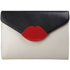 Lulu Guinness Tri Colour Medium Leila Perspex Leather Clutch -... ($270) ❤ liked on Polyvore featuring bags, handbags, clutches, purses, bolsas, red handbags, red leather purse, red hand bags, red clutches and leather purses