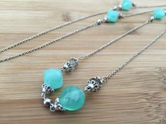 Long 28 Necklace Sterling Silver Aqua Acrylic Bead by LindyTea