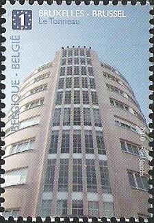 belgian stamps Skyscrapers in Belgium Brussels - Le Tonneau (S.Jasinsky)
