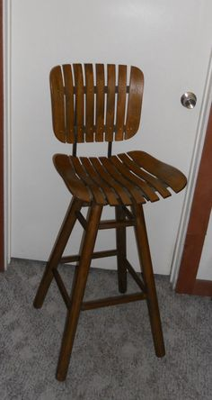 Vtg. Mid Century Modern Brown Wood Slat Swivel Bar Stool Chair #MidCenturyModern $140 inc & 2 Slotted wood vintage tall bar stool iron legs by snabbacash ... islam-shia.org