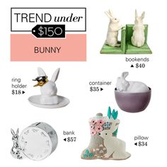 """Trend Under $150: Bunny Decor"" by polyvore-editorial ❤ liked on Polyvore featuring interior, interiors, interior design, home, home decor, interior decorating, Dot & Bo, Imm Living, Royal Doulton and trendunder150"