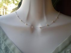 Free Shipping in US   Dainty Necklace with White by zara1009, $25.00