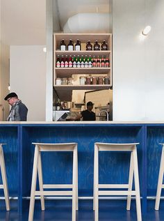 The bright blue plywood and galvanized metal decor of Vancouver's Kin Kao, designed by local architects (and Remodelista favorites) David and Susan Sc Hotel Restaurant, Thai Restaurant, Restaurant Design, Restaurant Interiors, Cafe Deli, Cafe Bar, Vancouver Restaurants, Plywood Interior, Kitchen Drawing