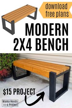 Simple bench plans only require five and hours! This modern bench is a great beginner woodworking project for super cheap outdoor seating and DIY front porch curb appeal.er with a set Woodworking Bench Plans, Beginner Woodworking Projects, Woodworking Tools, Woodworking Equipment, Woodworking Magazine, Woodworking Enthusiasts, Japanese Woodworking, Workbench Plans, Woodworking Machinery