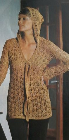 Vintage Crocheted Hooded Tunic Pattern by MAMASPATTERNS on Etsy